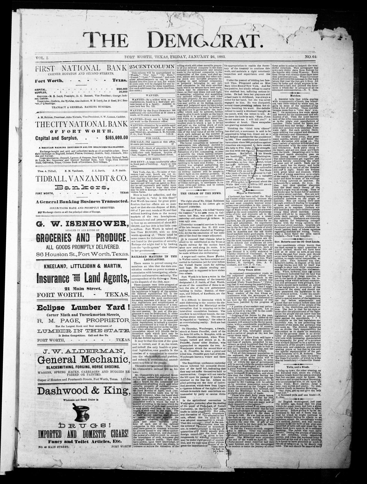 The Democrat. (Fort Worth, Tex.), Vol. 1, No. 64, Ed. 1 Friday, January 26, 1883                                                                                                      [Sequence #]: 1 of 4