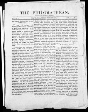 Primary view of object titled 'The Philomathean (Chappell Hill, Tex.), Vol. 1, No. 1, Ed. 1 Friday, January 1, 1886'.