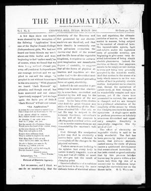 The Philomathean (Chappell Hill, Tex.), Vol. 1, No. 3, Ed. 1 Monday, March 1, 1886