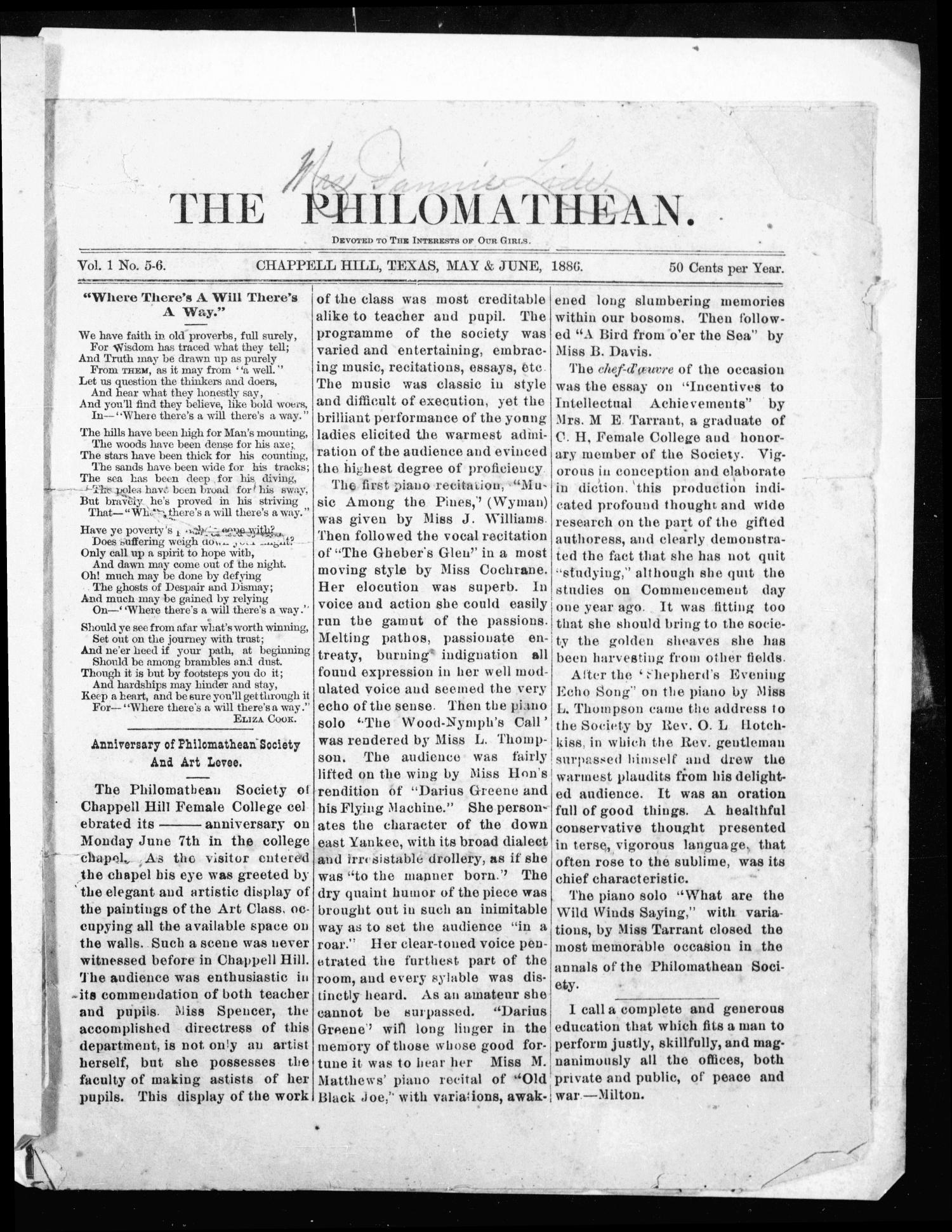 The Philomathean (Chappell Hill, Tex.), Vol. 1, No. 5-6, Ed. 1 Saturday, May 1, 1886                                                                                                      [Sequence #]: 1 of 8