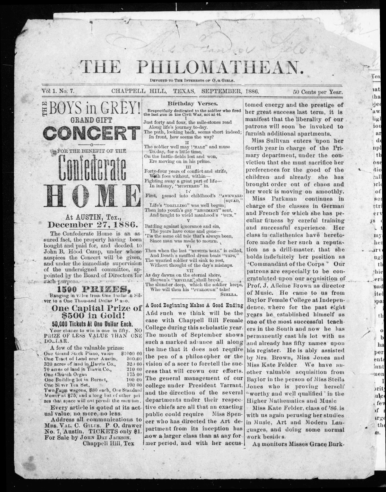 The Philomathean (Chappell Hill, Tex.), Vol. 1, No. 7, Ed. 1 Wednesday, September 1, 1886                                                                                                      [Sequence #]: 1 of 4