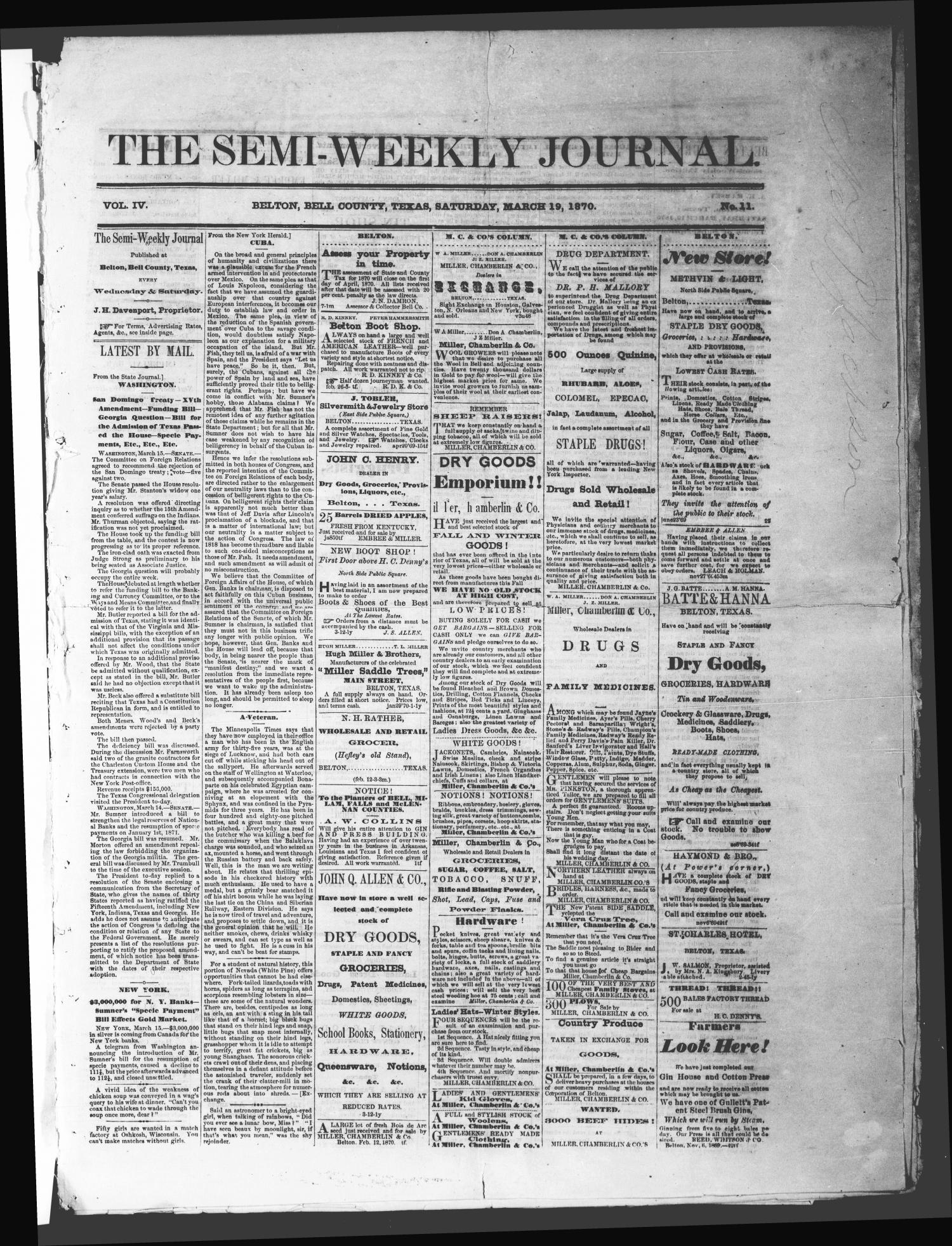 The Semi-Weekly Journal (Belton, Tex.), Vol. 4, No. 11, Ed. 1 Saturday, March 19, 1870                                                                                                      [Sequence #]: 1 of 4