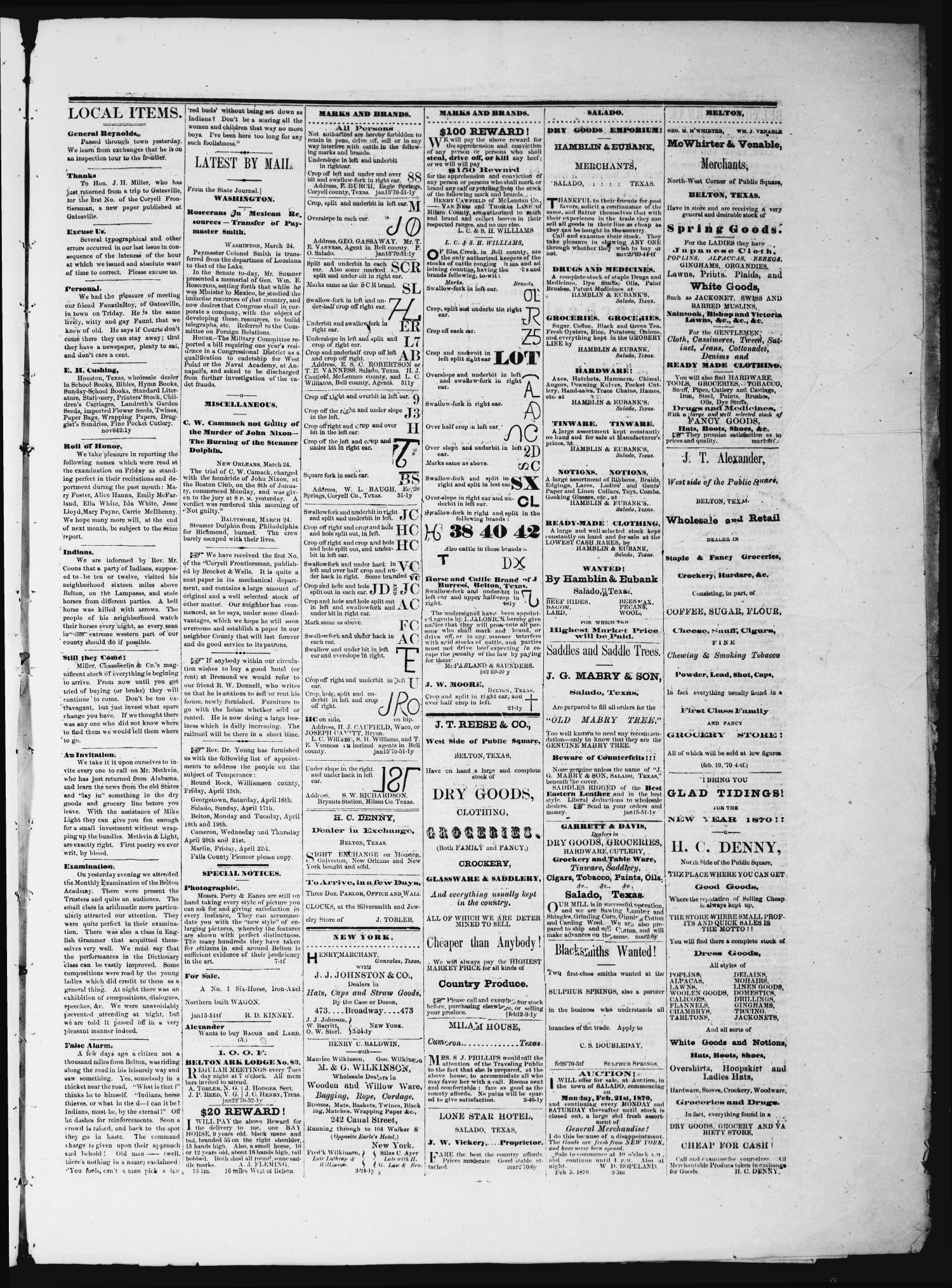 The Semi-Weekly Journal (Belton, Tex.), Vol. 4, No. 13, Ed. 1 Saturday, March 26, 1870                                                                                                      [Sequence #]: 3 of 4