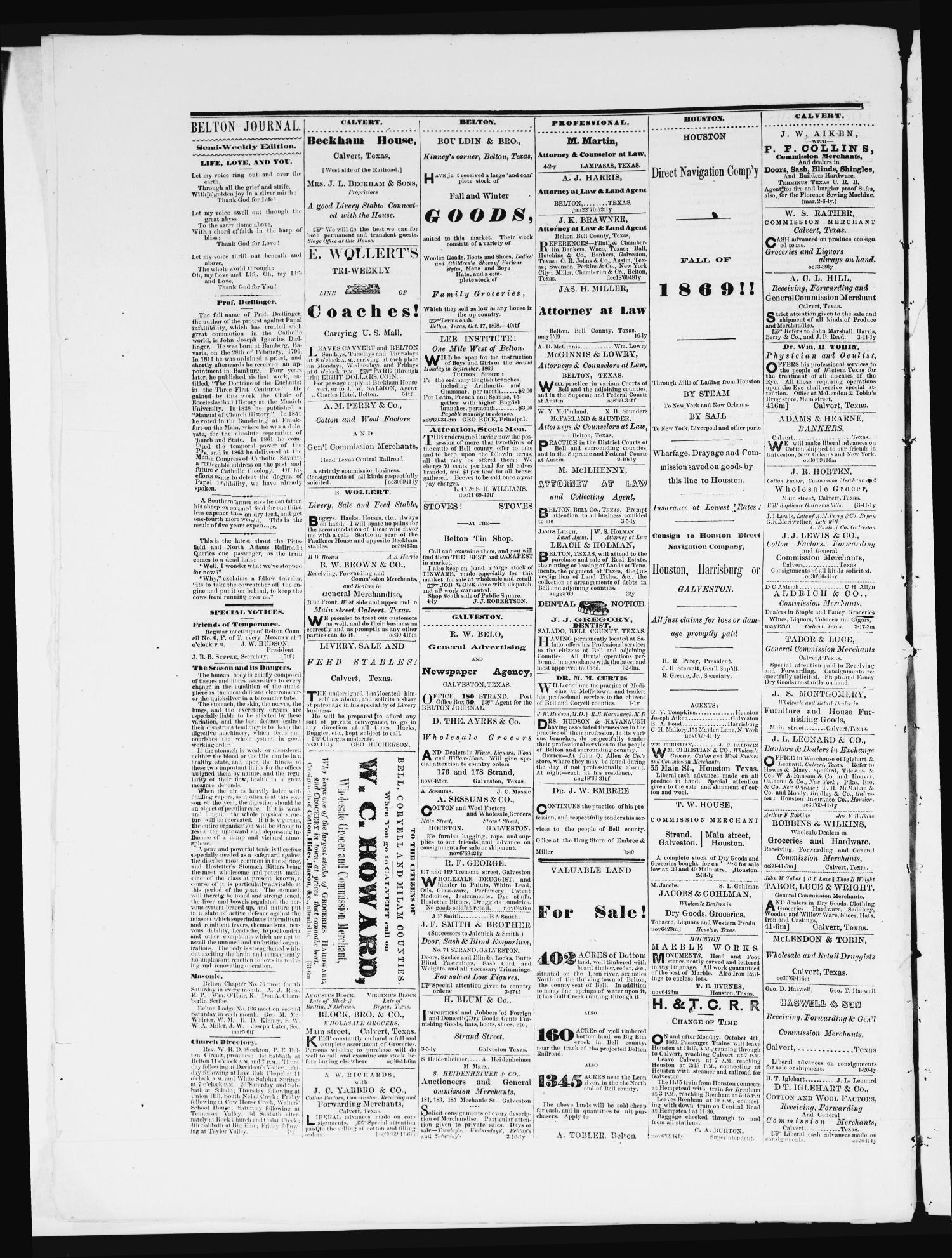 The Semi-Weekly Journal (Belton, Tex.), Vol. 4, No. 13, Ed. 1 Saturday, March 26, 1870                                                                                                      [Sequence #]: 4 of 4