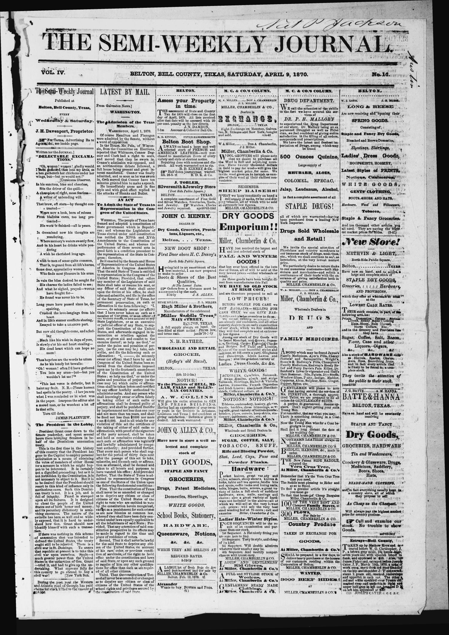 The Semi-Weekly Journal (Belton, Tex.), Vol. 4, No. 16, Ed. 1 Saturday, April 9, 1870                                                                                                      [Sequence #]: 1 of 4