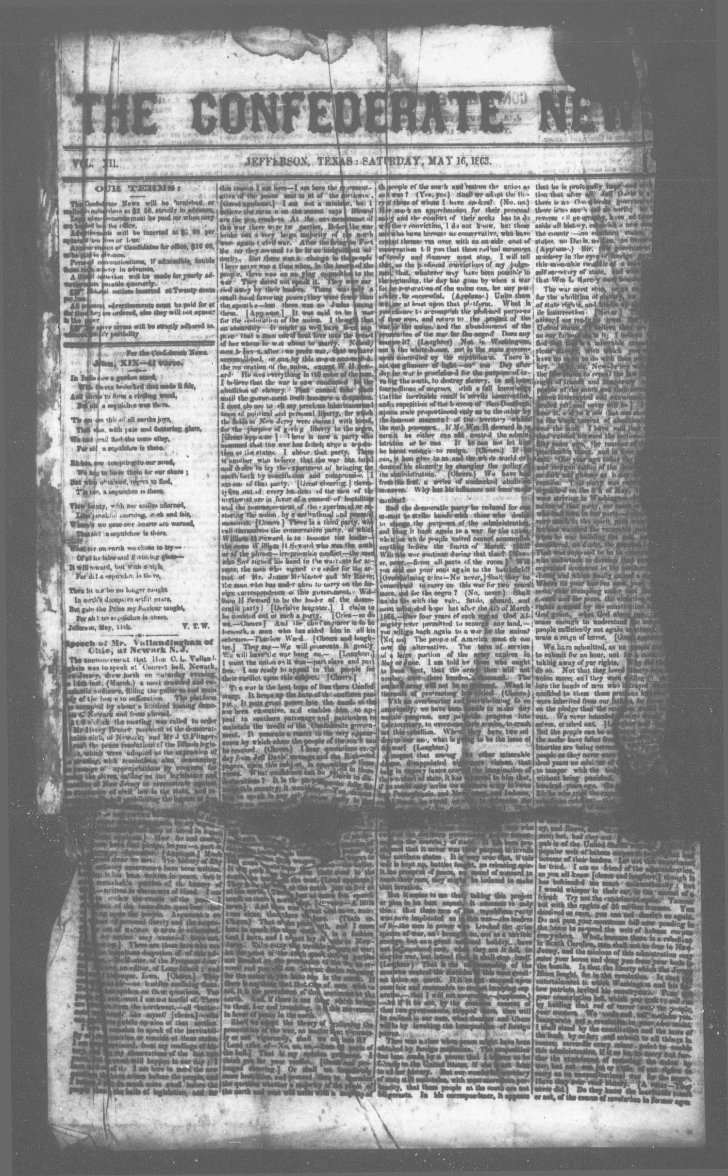The Confederate News. (Jefferson, Tex.), Vol. 12, Ed. 1 Saturday, May 16, 1863                                                                                                      [Sequence #]: 1 of 2