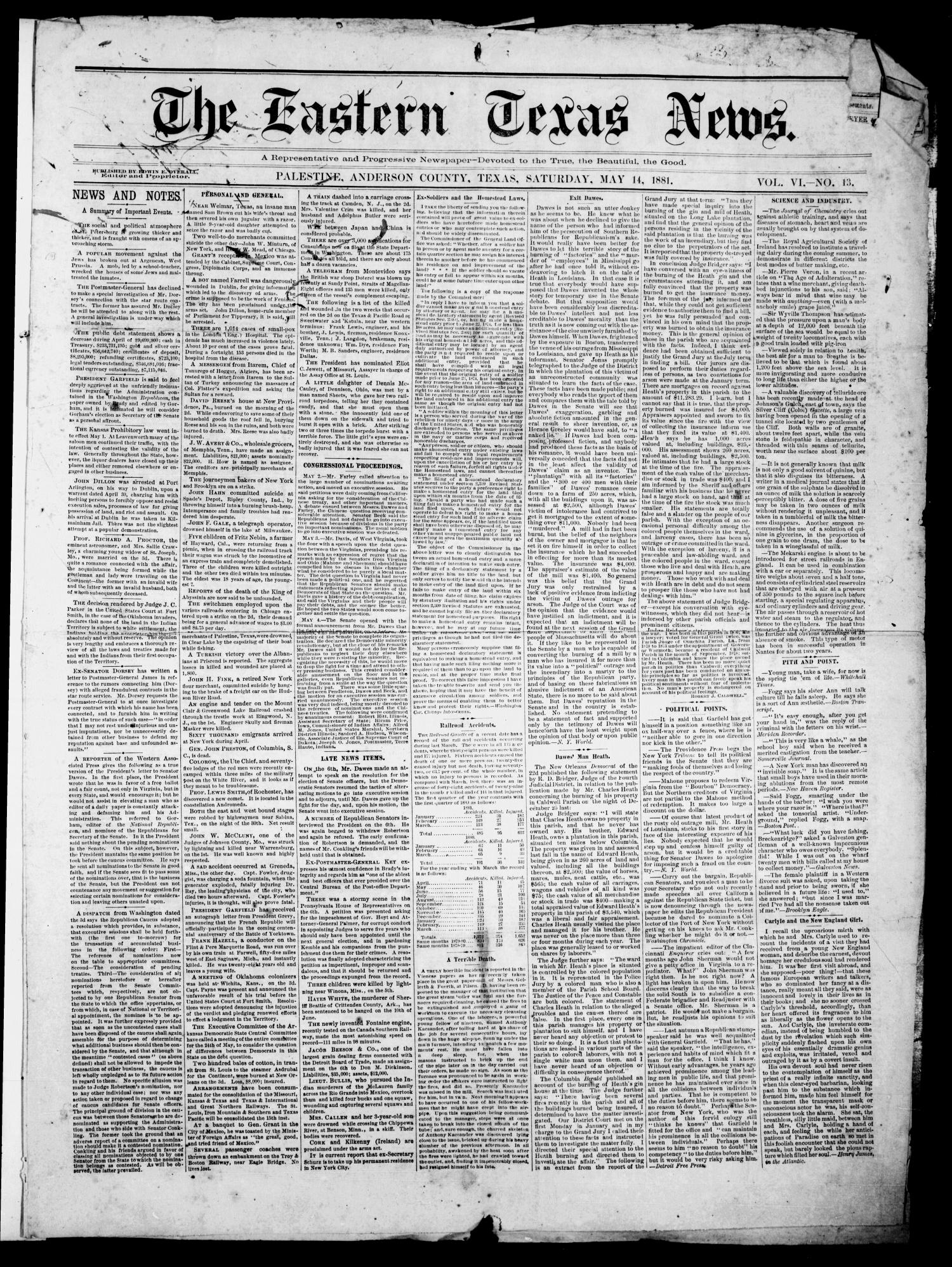 The Eastern Texas News. (Palestine, Tex.), Vol. 6, No. 13, Ed. 1 Saturday, May 14, 1881                                                                                                      [Sequence #]: 1 of 4