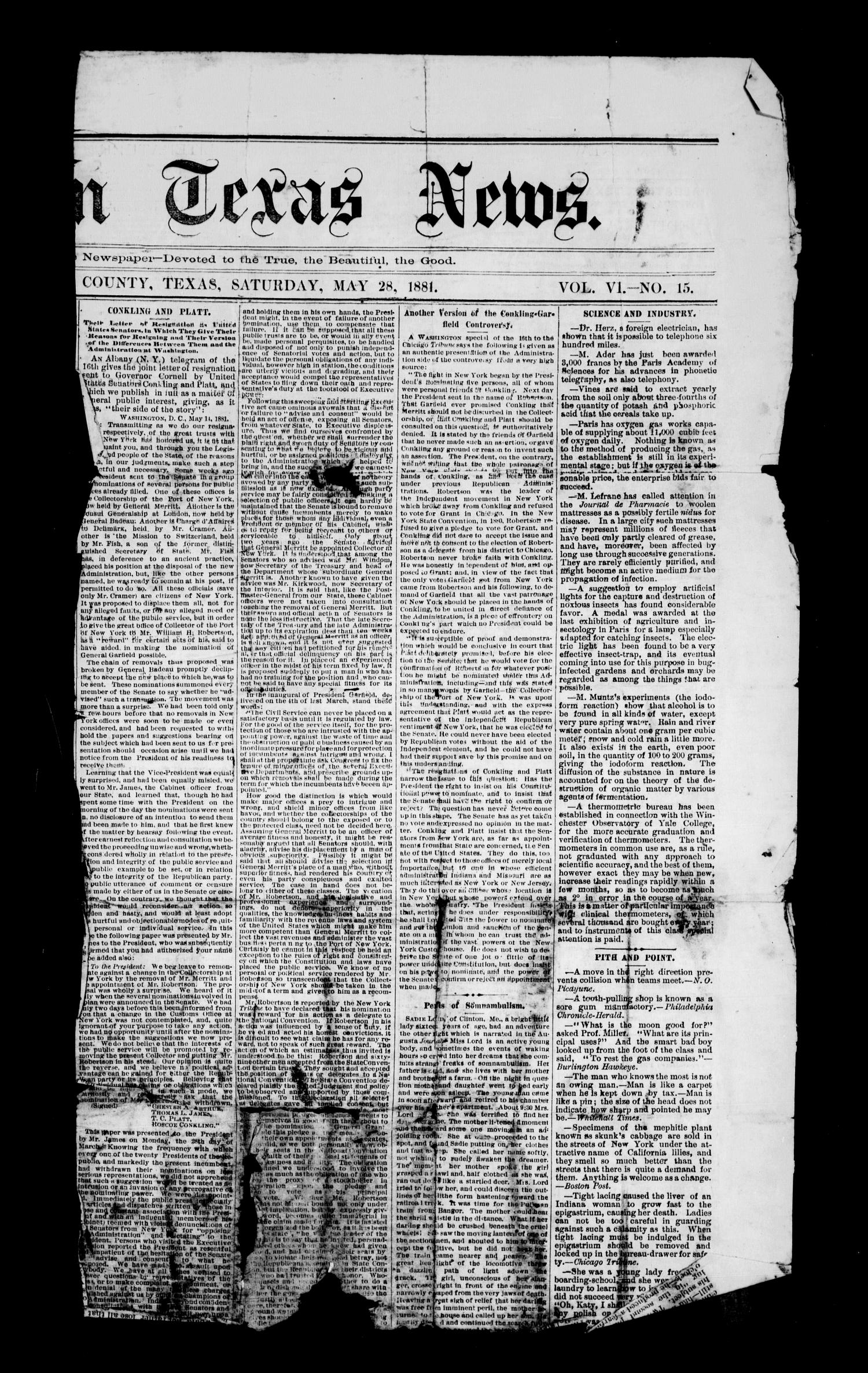 The Eastern Texas News. (Palestine, Tex.), Vol. 6, No. 15, Ed. 1 Saturday, May 28, 1881                                                                                                      [Sequence #]: 1 of 2