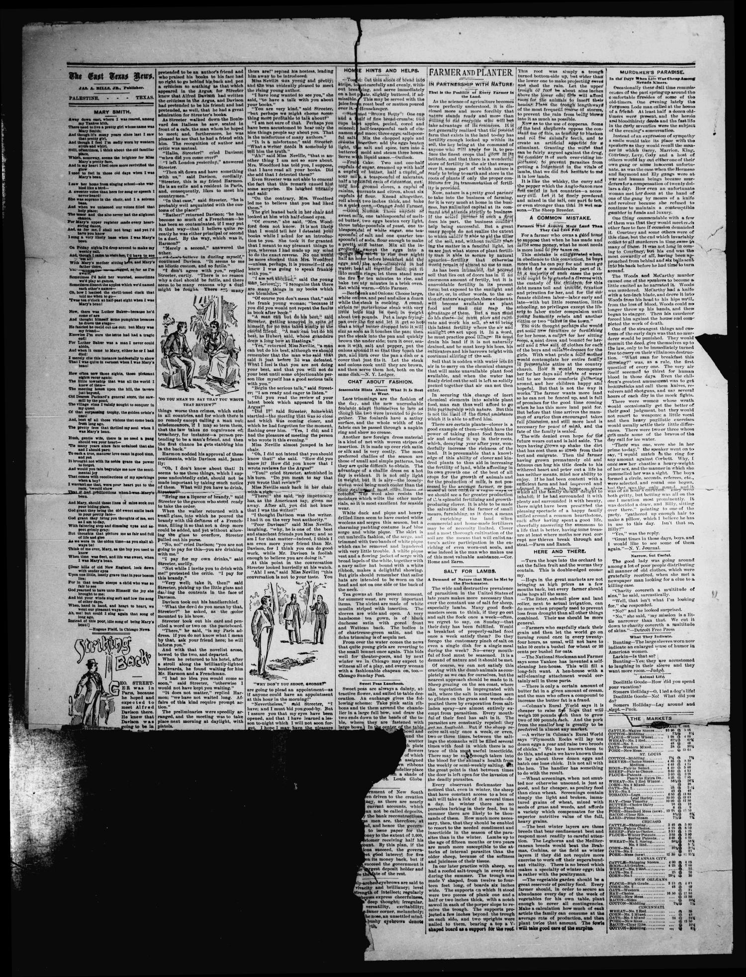 The East Texas News. (Palestine, Tex.), Vol. 20, No. 1, Ed. 1 Friday, August 11, 1893                                                                                                      [Sequence #]: 4 of 4