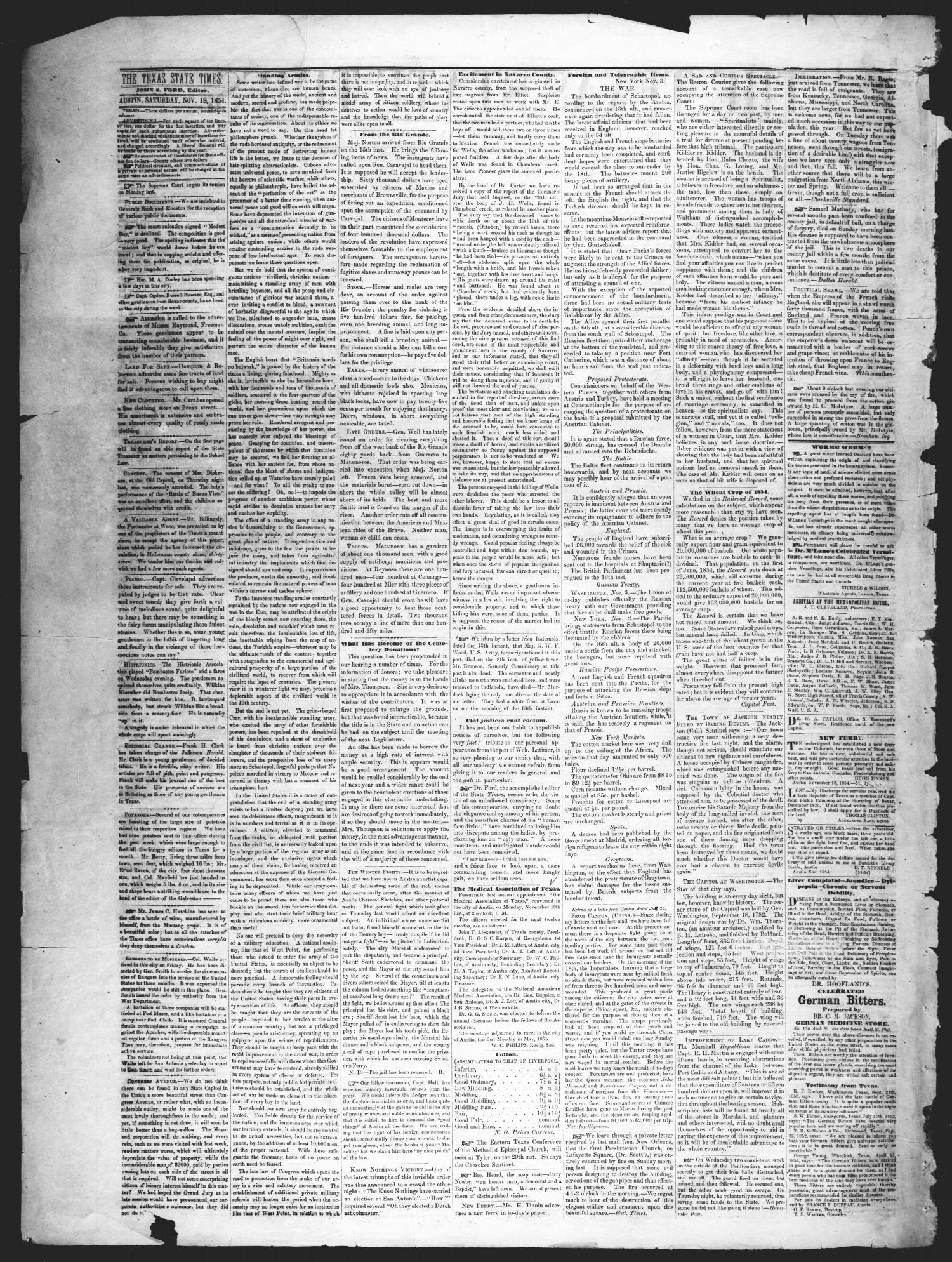 The Texas State Times (Austin, Tex.), Vol. 1, No. 51, Ed. 1 Saturday, November 18, 1854                                                                                                      [Sequence #]: 2 of 4