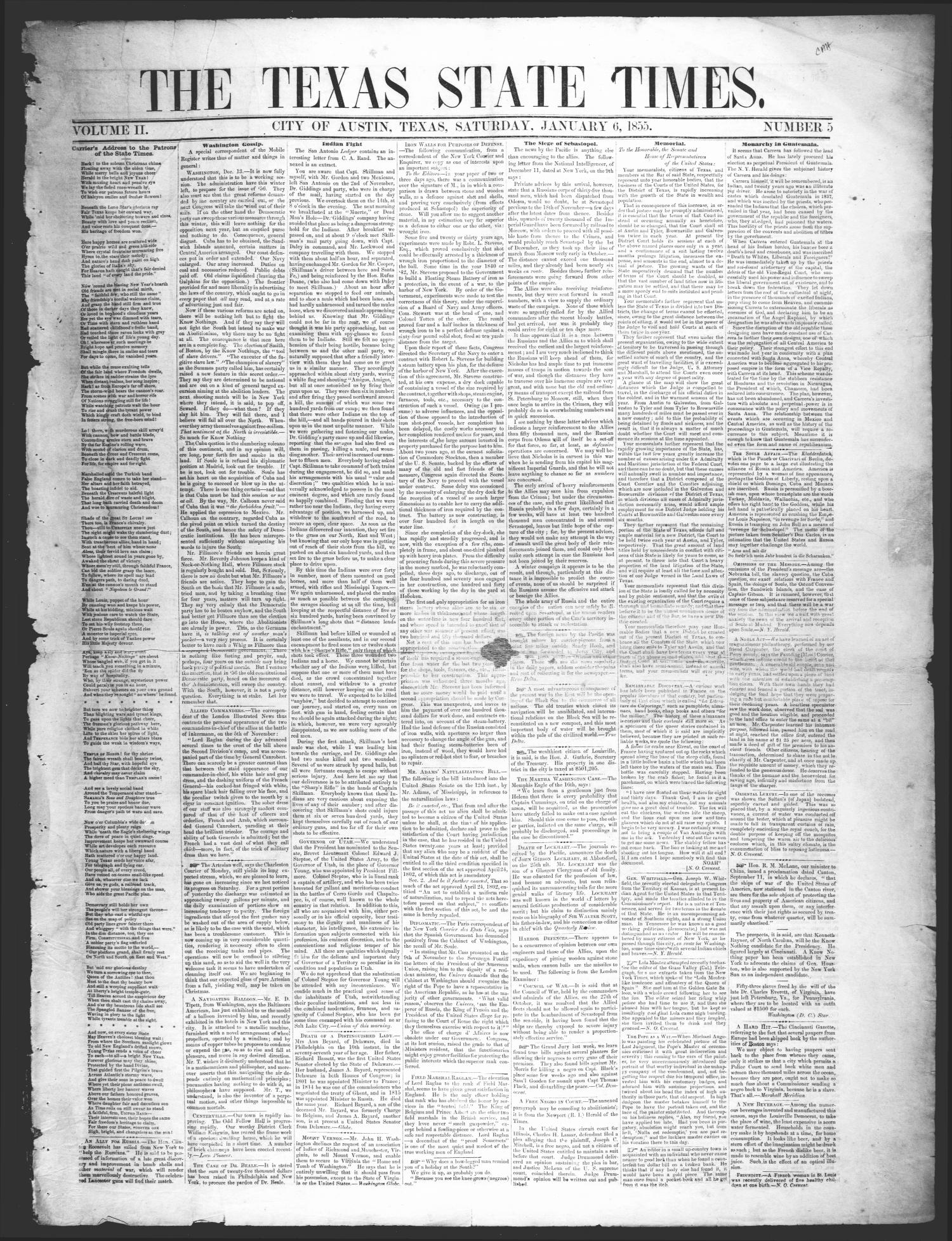 The Texas State Times (Austin, Tex.), Vol. 2, No. 5, Ed. 1 Saturday, January 6, 1855                                                                                                      [Sequence #]: 1 of 4