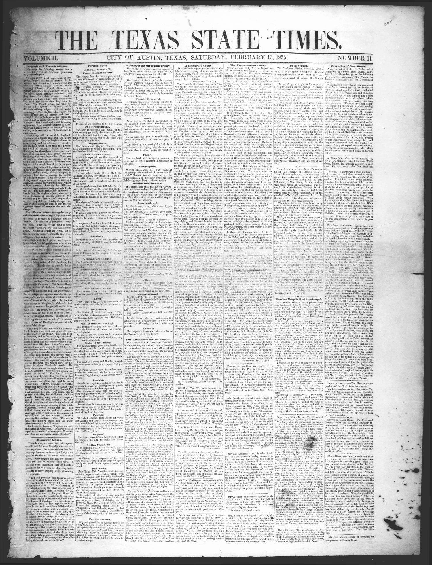 The Texas State Times (Austin, Tex.), Vol. 2, No. 11, Ed. 1 Saturday, February 17, 1855                                                                                                      [Sequence #]: 1 of 4