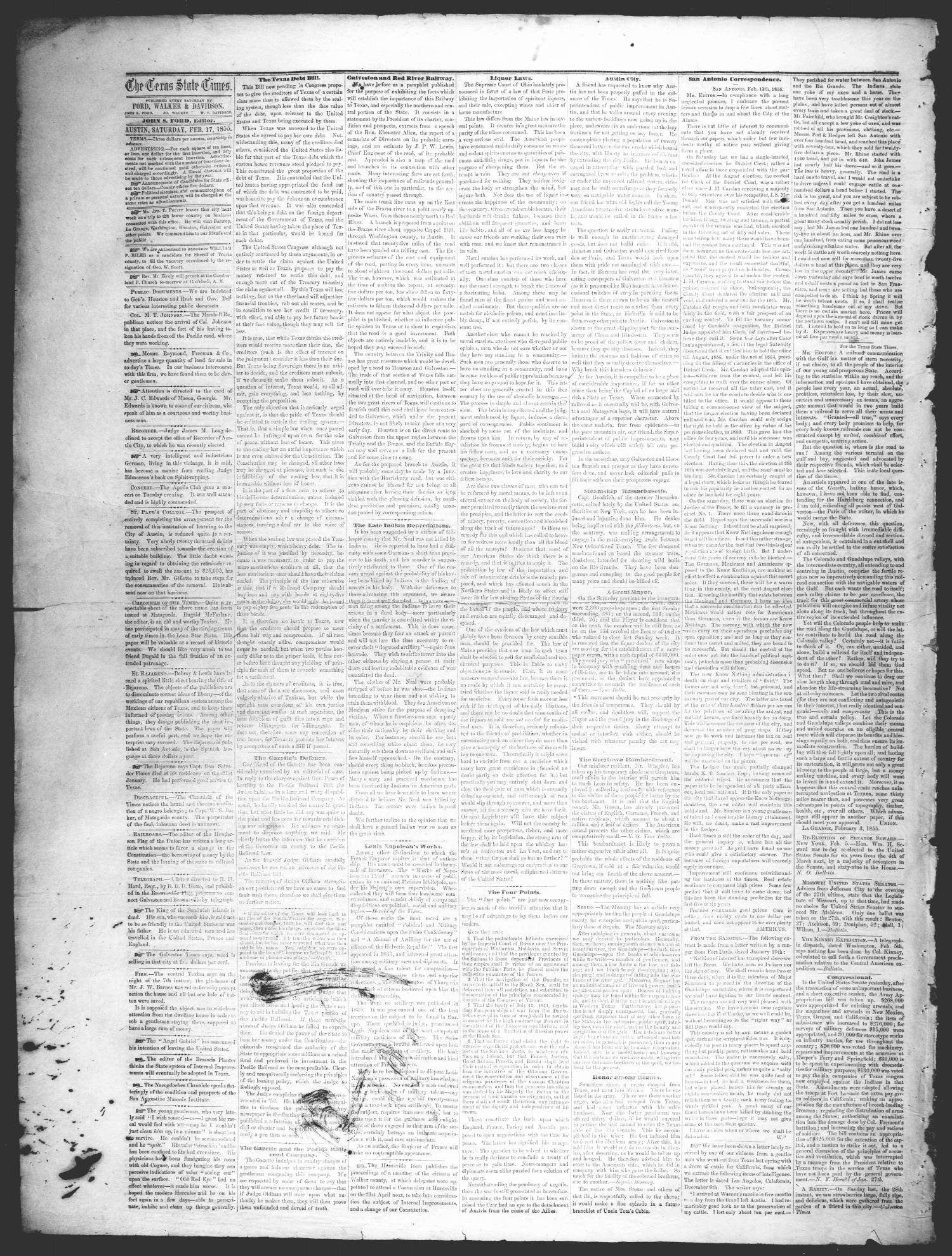 The Texas State Times (Austin, Tex.), Vol. 2, No. 11, Ed. 1 Saturday, February 17, 1855                                                                                                      [Sequence #]: 2 of 4