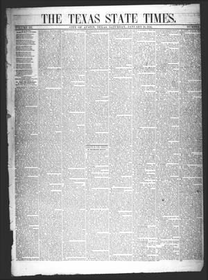 Primary view of object titled 'The Texas State Times (Austin, Tex.), Vol. 3, No. 6, Ed. 1 Saturday, January 19, 1856'.