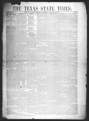 Primary view of object titled 'The Texas State Times (Austin, Tex.), Vol. 4, No. 12, Ed. 1 Saturday, March 28, 1857'.