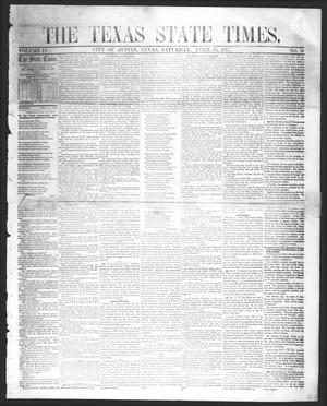 Primary view of object titled 'The Texas State Times (Austin, Tex.), Vol. 4, No. 16, Ed. 1 Saturday, April 25, 1857'.