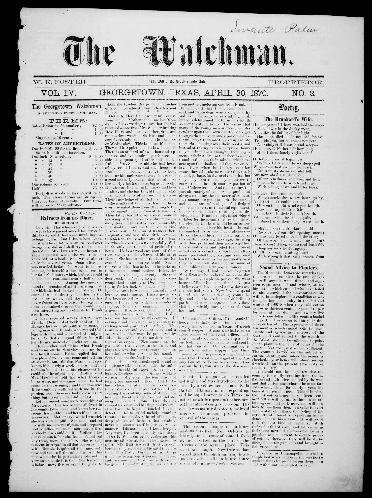 The Watchman (Georgetown, Tex.), Vol. 4, No. 2, Ed. 1 Saturday, April 30, 1870                                                                                                      [Sequence #]: 1 of 8
