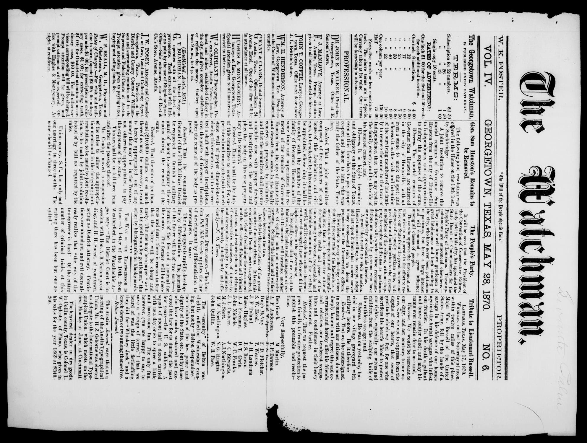 The Watchman (Georgetown, Tex.), Vol. 4, No. 6, Ed. 1 Saturday, May 28, 1870                                                                                                      [Sequence #]: 1 of 8
