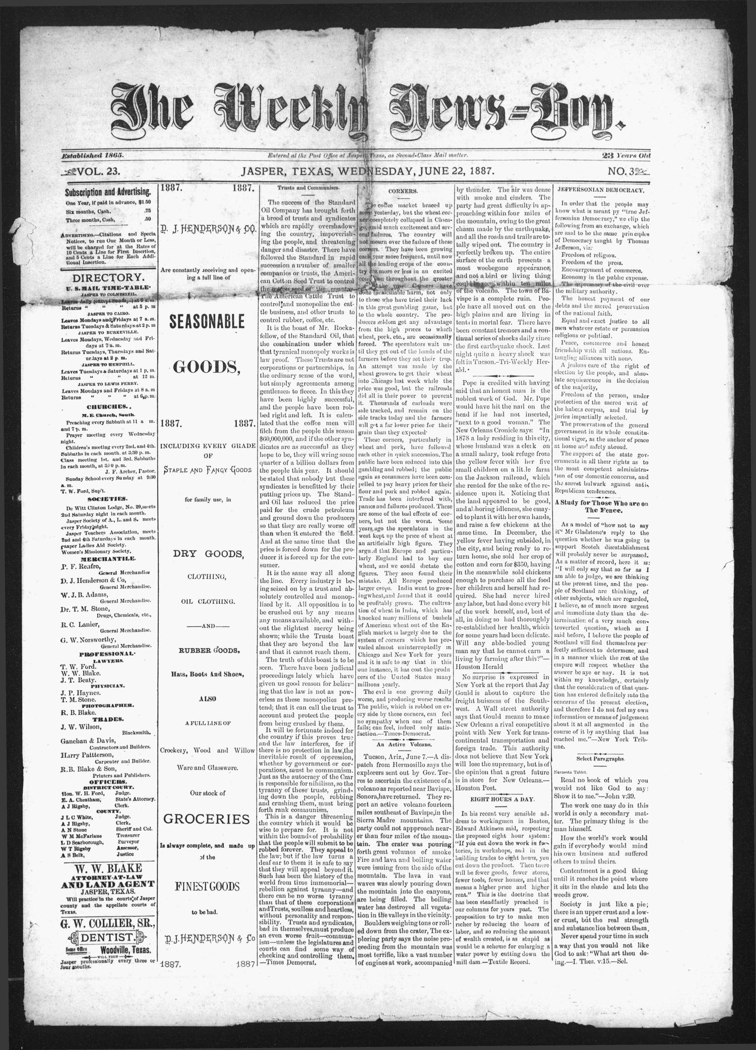 The Weekly News=Boy, Vol. 23, No. 3, Ed. 1 Wednesday, June 22, 1887                                                                                                      [Sequence #]: 1 of 4