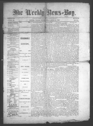 Primary view of object titled 'The Weekly News=Boy, Vol. 23, No. 5, Ed. 1 Wednesday, June 29, 1887'.