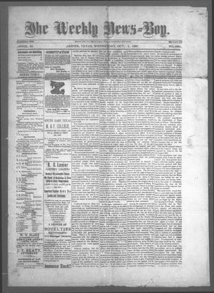 Primary view of object titled 'The Weekly News=Boy, Vol. 23, No. 18, Ed. 1 Wednesday, October 5, 1887'.