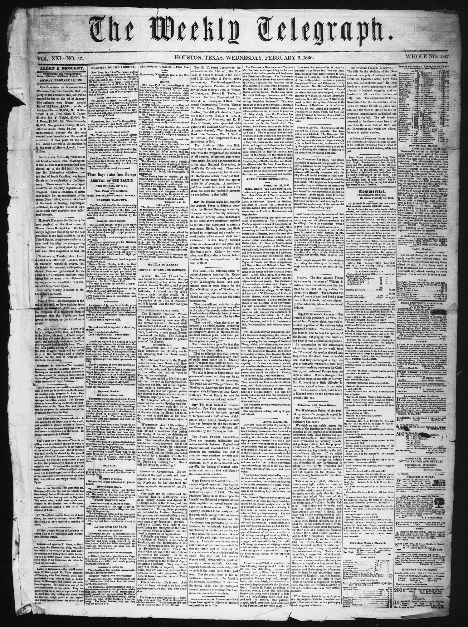 The Weekly Telegraph (Houston, Tex.), Vol. 21, No. 47, Ed. 1 Wednesday, February 6, 1856                                                                                                      [Sequence #]: 1 of 4