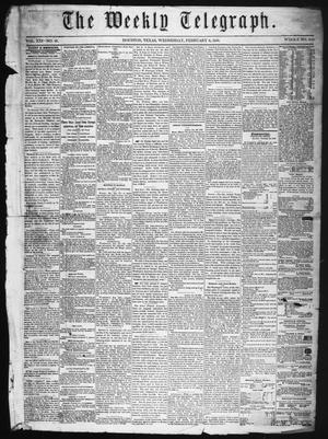 Primary view of object titled 'The Weekly Telegraph (Houston, Tex.), Vol. 21, No. 47, Ed. 1 Wednesday, February 6, 1856'.