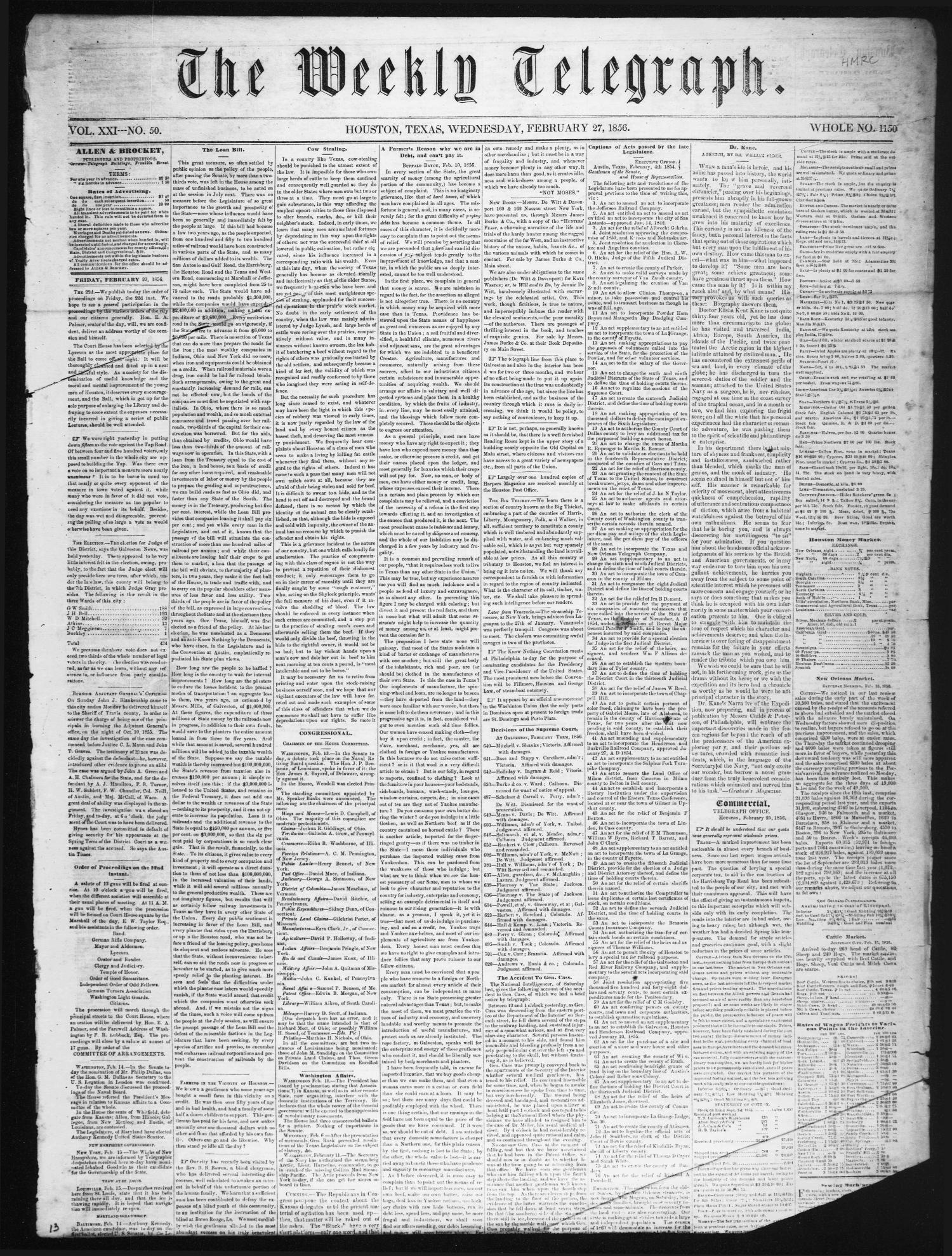 The Weekly Telegraph (Houston, Tex.), Vol. 21, No. 50, Ed. 1 Wednesday, February 27, 1856                                                                                                      [Sequence #]: 1 of 4