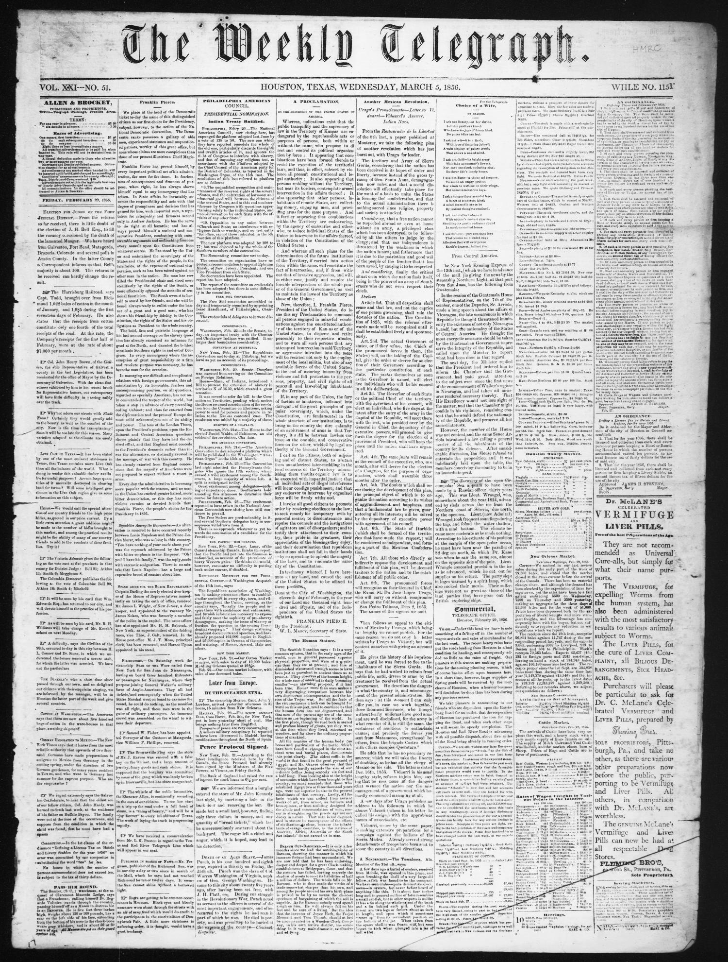 The Weekly Telegraph (Houston, Tex.), Vol. 21, No. 51, Ed. 1 Wednesday, March 5, 1856                                                                                                      [Sequence #]: 1 of 4