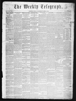 Primary view of object titled 'The Weekly Telegraph (Houston, Tex.), Vol. 22, No. 3, Ed. 1 Wednesday, April 2, 1856'.