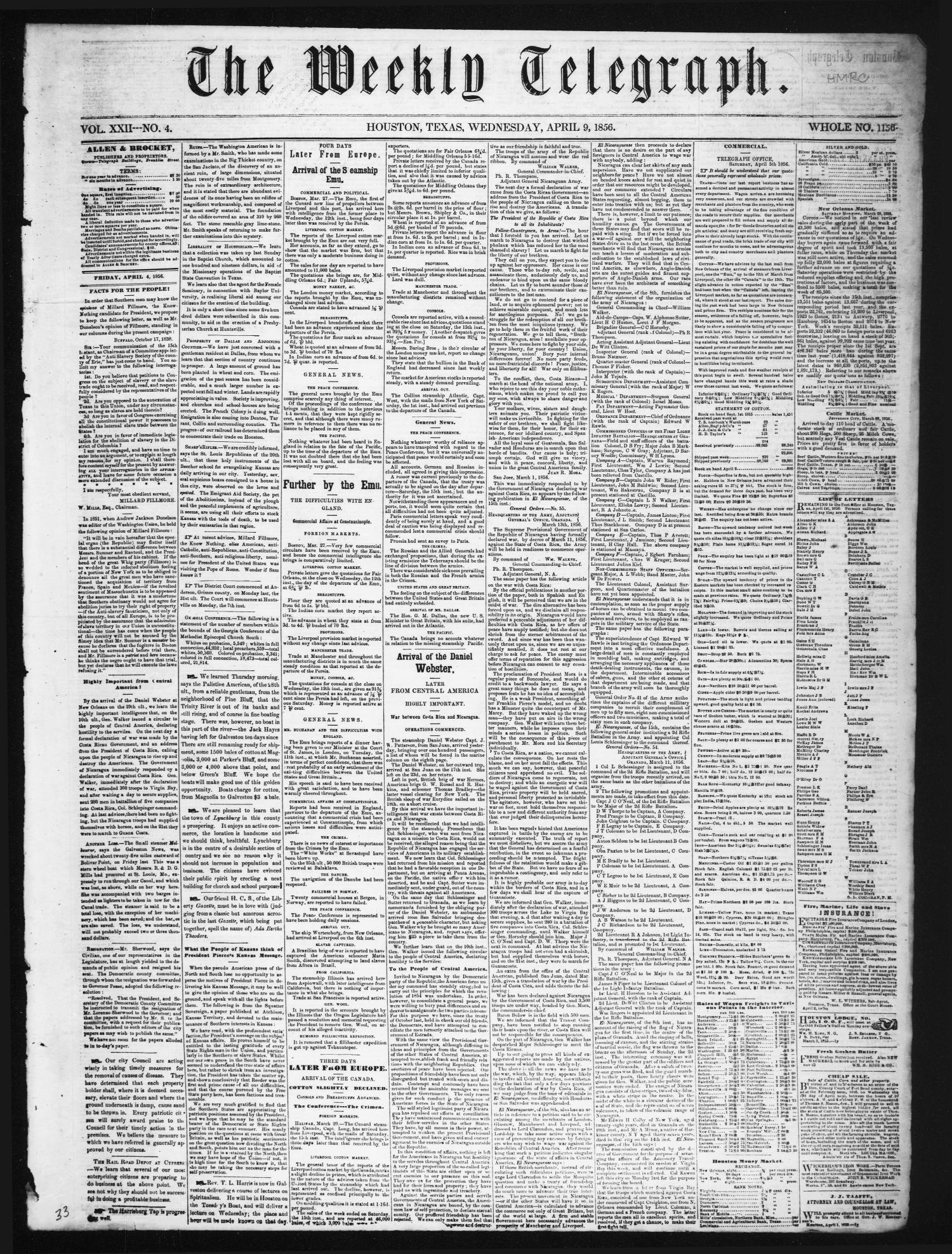 The Weekly Telegraph (Houston, Tex.), Vol. 22, No. 4, Ed. 1 Wednesday, April 9, 1856                                                                                                      [Sequence #]: 1 of 4