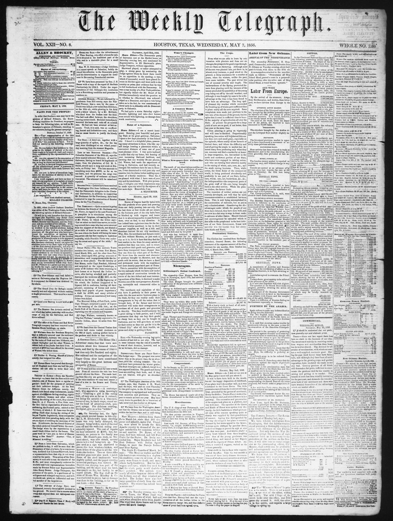 The Weekly Telegraph (Houston, Tex.), Vol. 22, No. 8, Ed. 1 Wednesday, May 7, 1856                                                                                                      [Sequence #]: 1 of 4