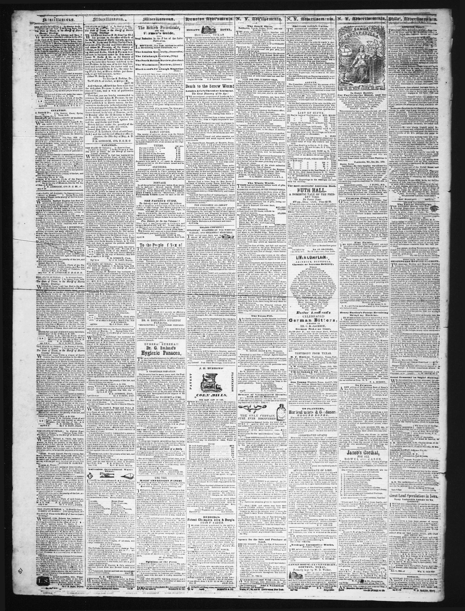 The Weekly Telegraph (Houston, Tex.), Vol. 22, No. 12, Ed. 1 Wednesday, June 4, 1856                                                                                                      [Sequence #]: 4 of 4