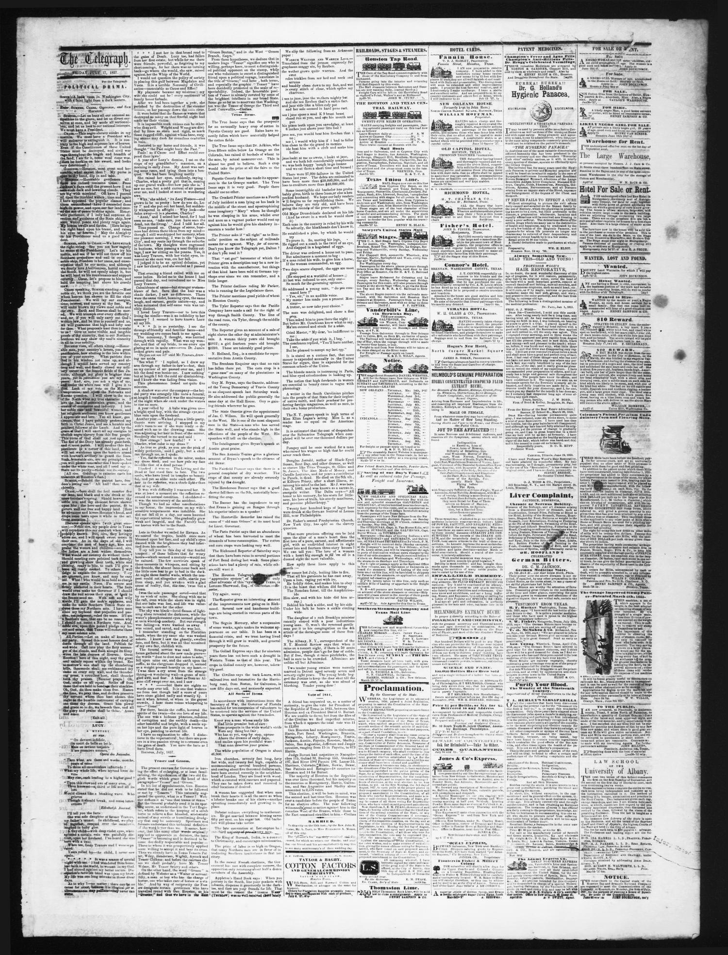 8e39c9889e5d0 The Weekly Telegraph (Houston, Tex.), Vol. 23, No. 18, Ed. 1 ...