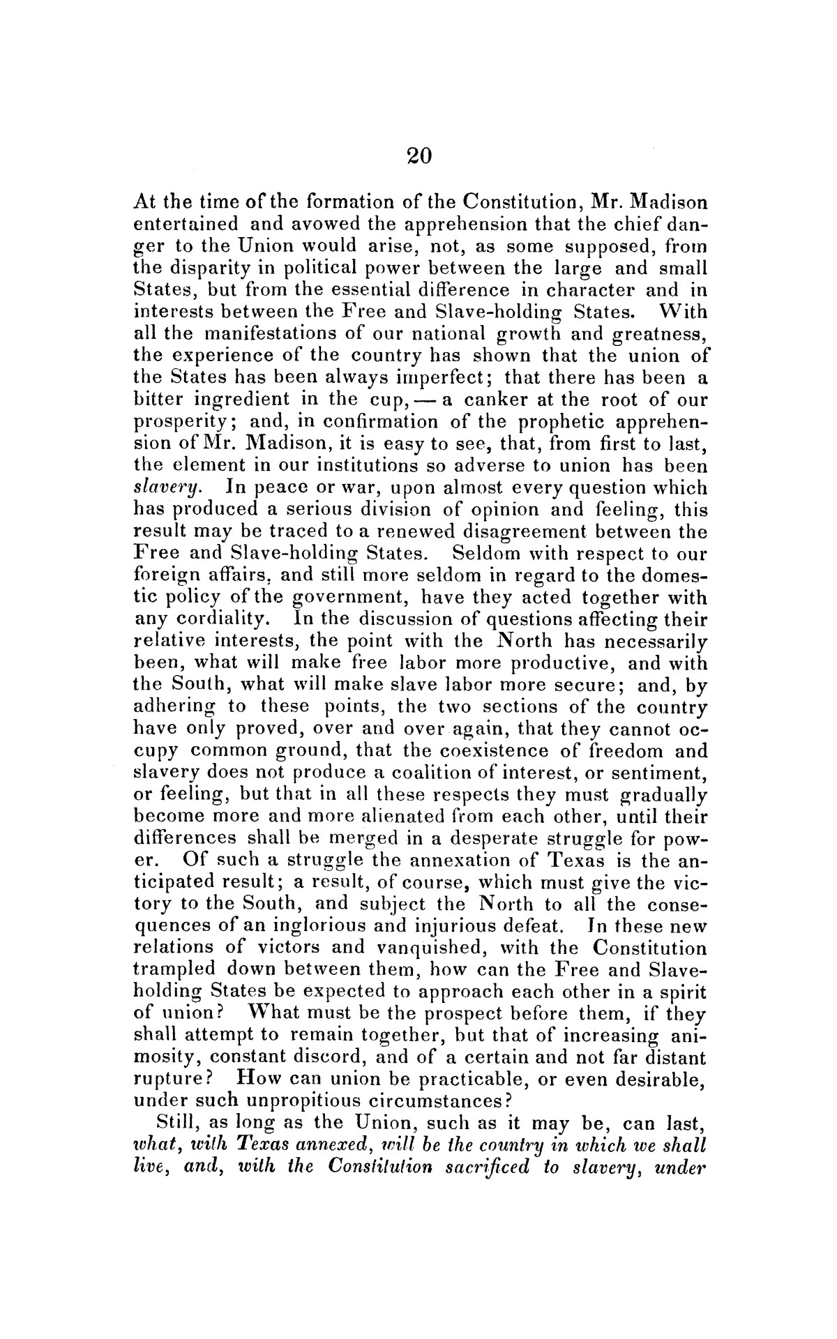 Address on the annexation of Texas, and the aspect of slavery in the United States, in connection therewith: delivered in Boston November 14 and 18, 1845                                                                                                      [Sequence #]: 20 of 56