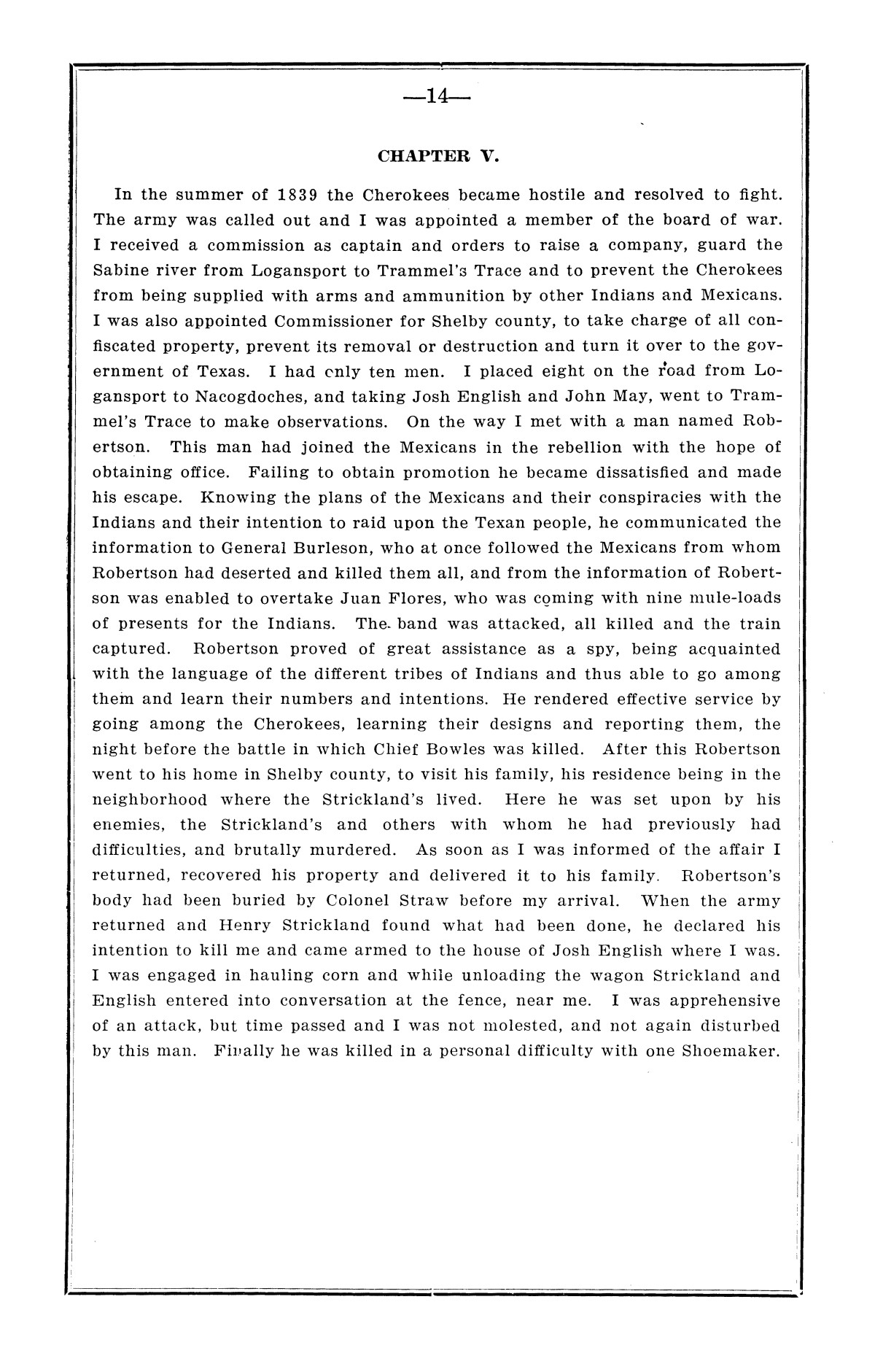 History of the regulators and moderators and the Shelby County war in 1841 and 1842, in the republic of Texas, with facts and incidents in the early history of the republic and state, from 1837 to the annexation, together with incidents of frontier life and Indian troubles, and the war on the reserve in Young County in 1857                                                                                                      [Sequence #]: 16 of 42