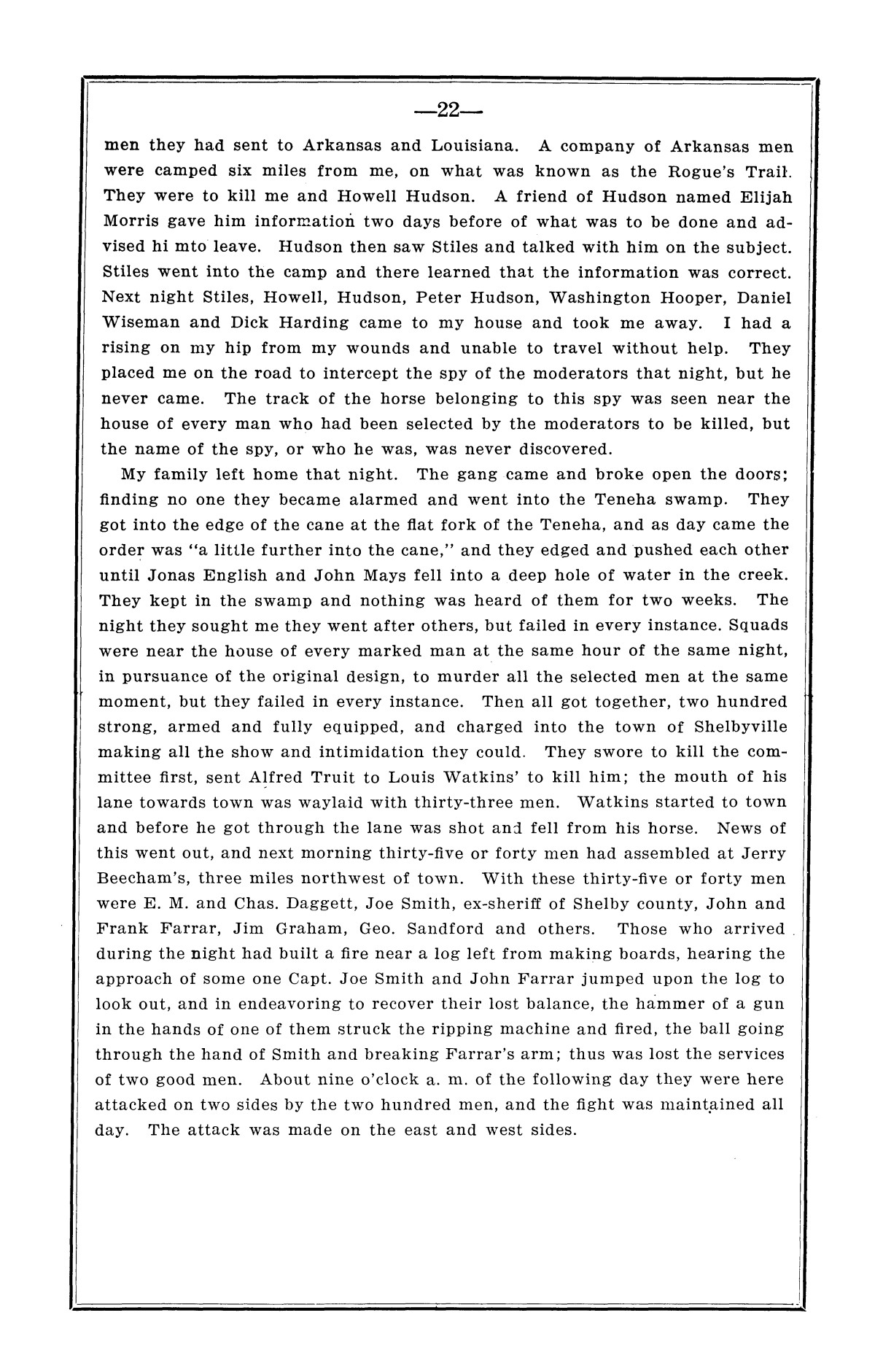 History of the regulators and moderators and the Shelby County war in 1841 and 1842, in the republic of Texas, with facts and incidents in the early history of the republic and state, from 1837 to the annexation, together with incidents of frontier life and Indian troubles, and the war on the reserve in Young County in 1857                                                                                                      [Sequence #]: 24 of 42