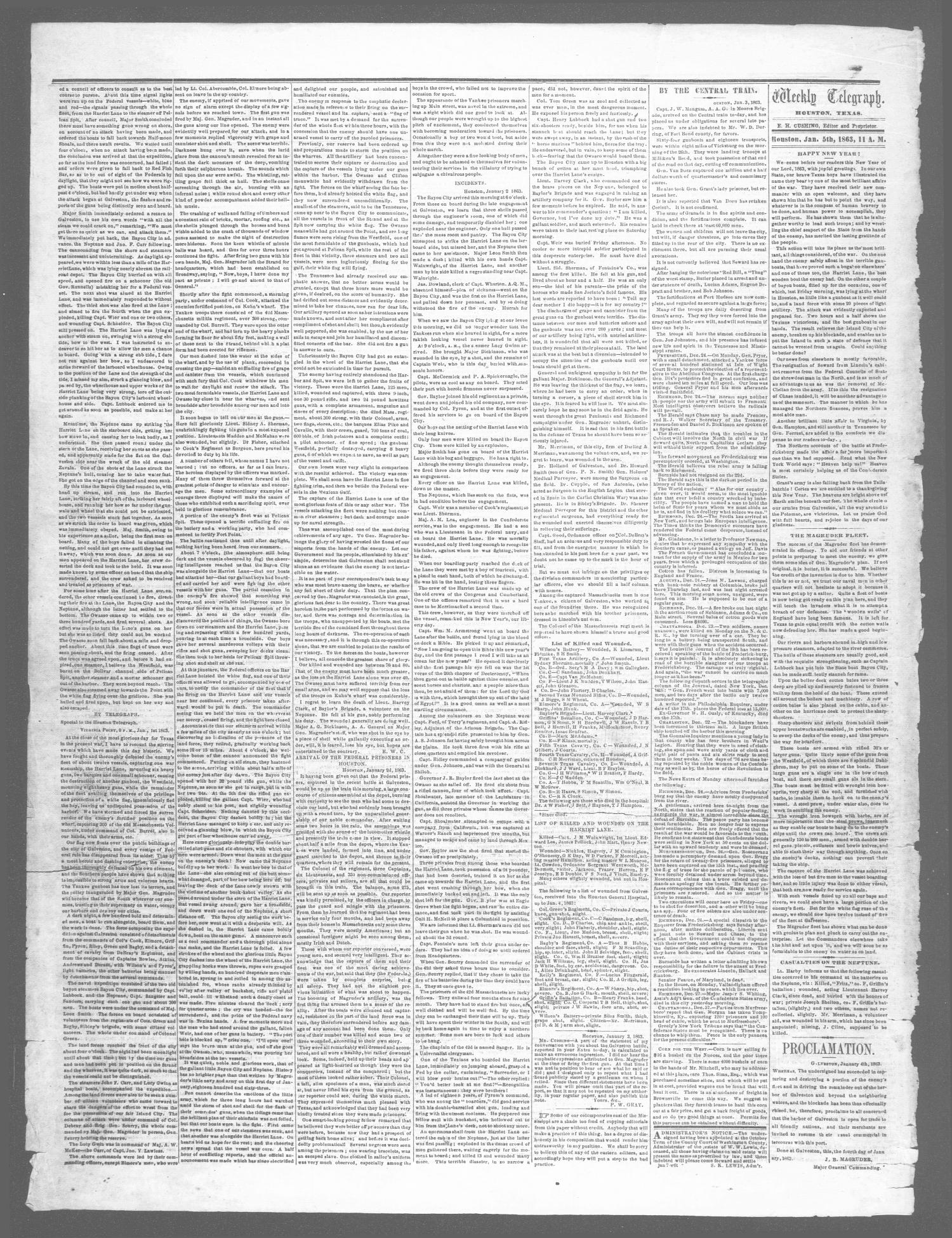 The Weekly Telegraph (Houston, Tex.), Vol. 28, No. 43, Ed. 1 Wednesday, January 7, 1863                                                                                                      [Sequence #]: 2 of 2