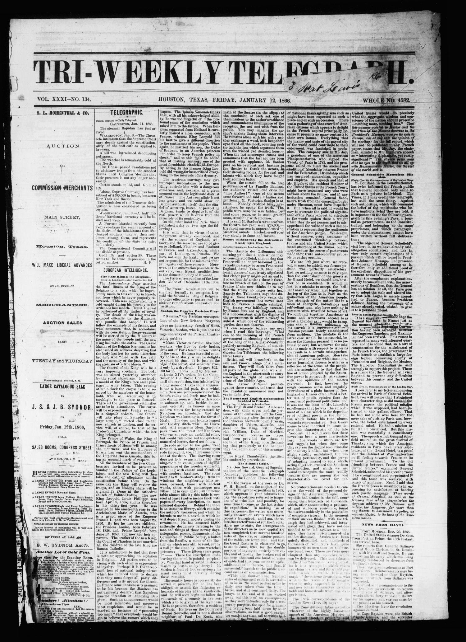Tri-Weekly Telegraph (Houston, Tex.), Vol. 31, No. 134, Ed. 1 Friday, January 12, 1866                                                                                                      [Sequence #]: 1 of 8