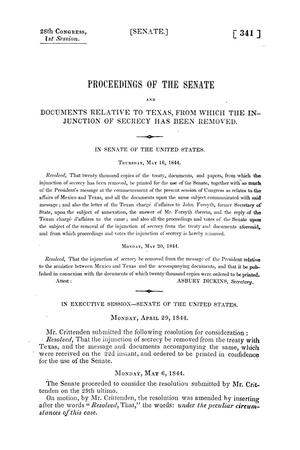 Primary view of object titled 'Proceedings of the Senate and Documents Relative to Texas, from which the Injunction of Secrecy Has Been Removed'.