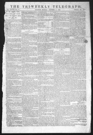 Primary view of The Tri-Weekly Telegraph (Houston, Tex.), Vol. 28, No. 87, Ed. 1 Monday, October 6, 1862