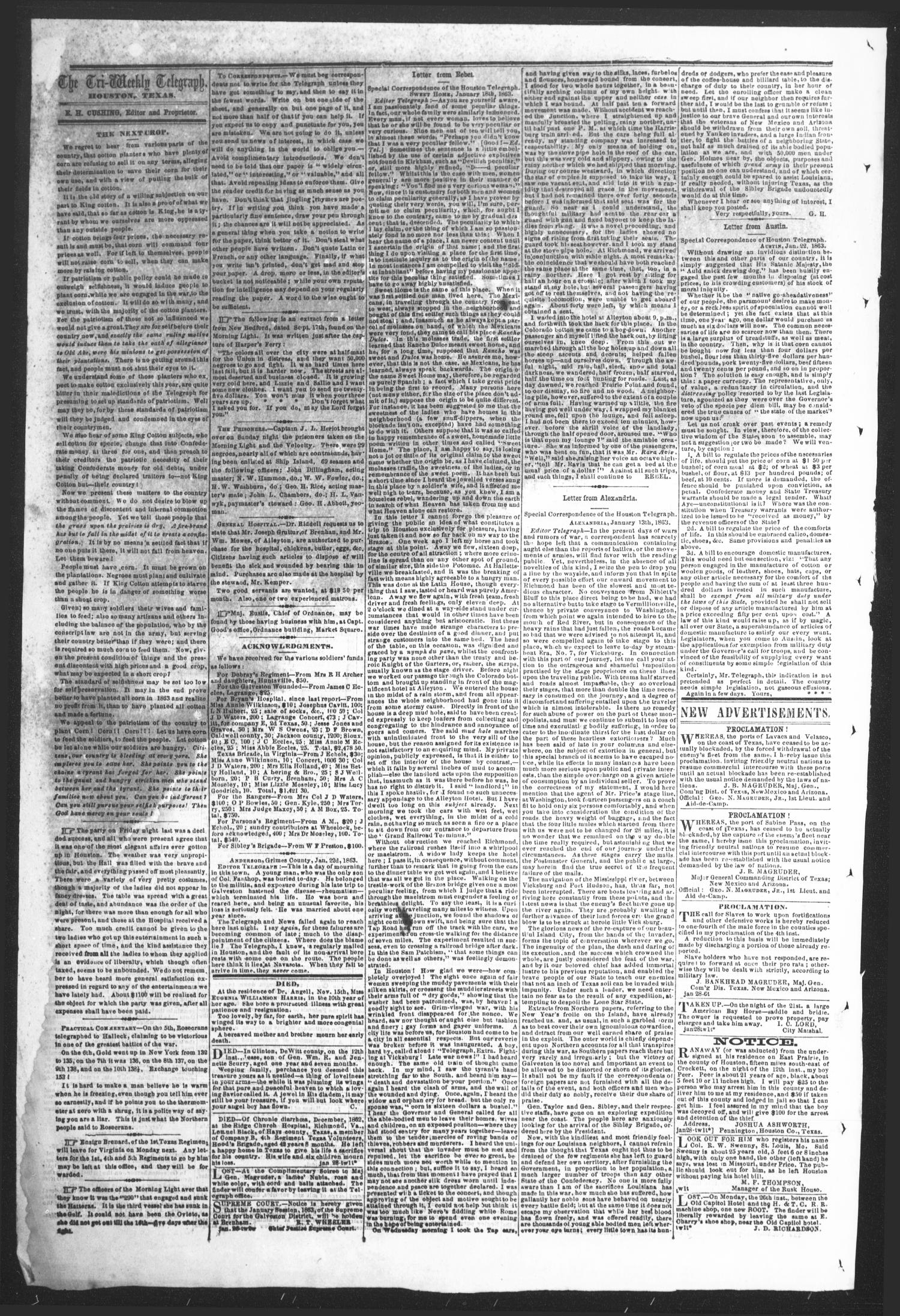 The Tri-Weekly Telegraph (Houston, Tex.), Vol. 28, No. 136, Ed. 1 Wednesday, January 28, 1863                                                                                                      [Sequence #]: 2 of 2