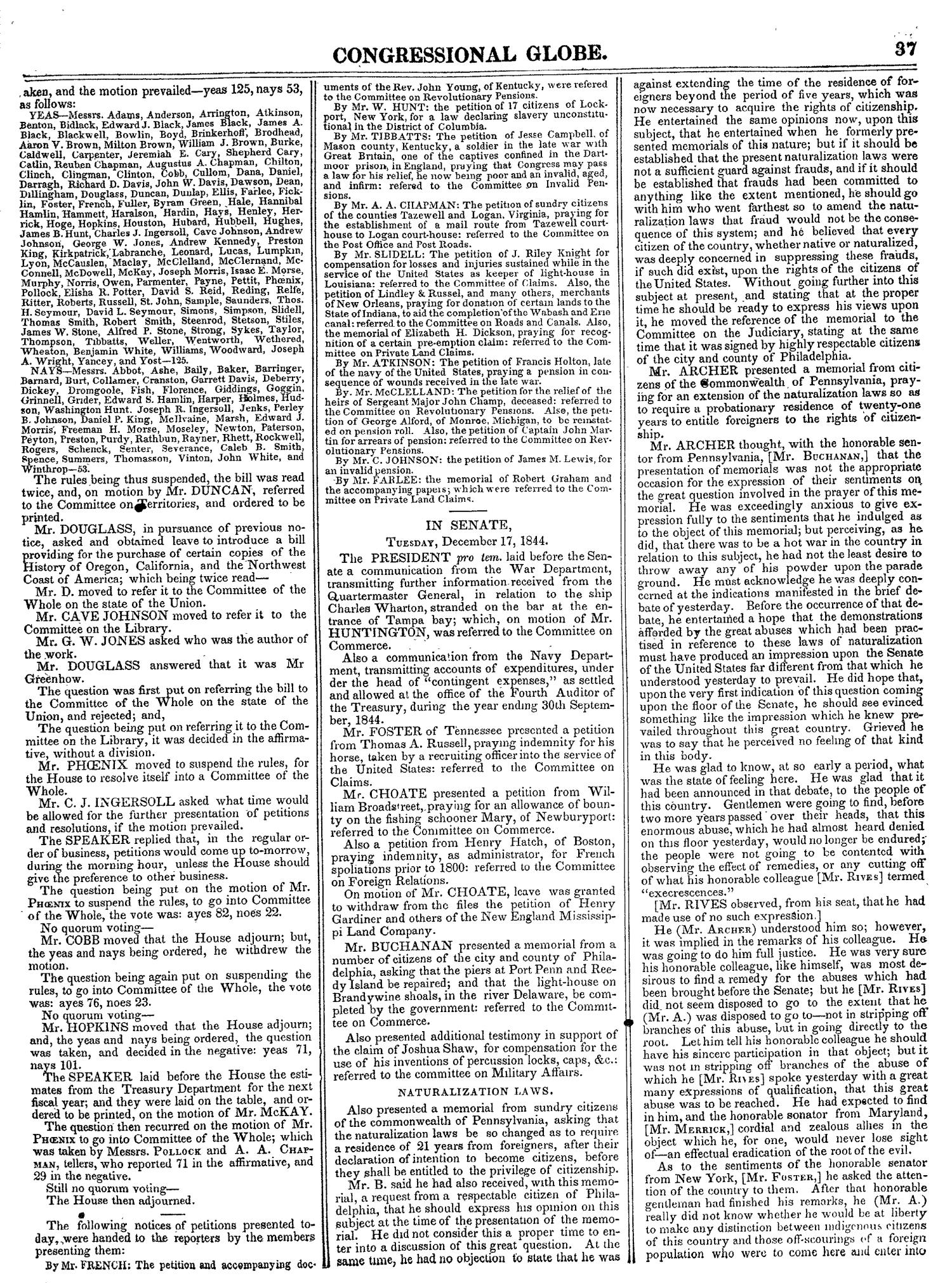The Congressional Globe, Volume 14: Twenty-Eighth Congress, Second Session                                                                                                      37