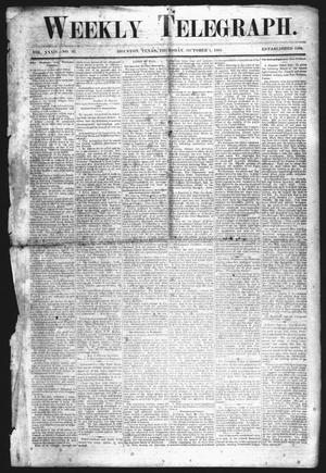 Primary view of object titled 'Weekly Telegraph (Houston, Tex.), Vol. 34, No. 26, Ed. 1 Thursday, October 1, 1868'.