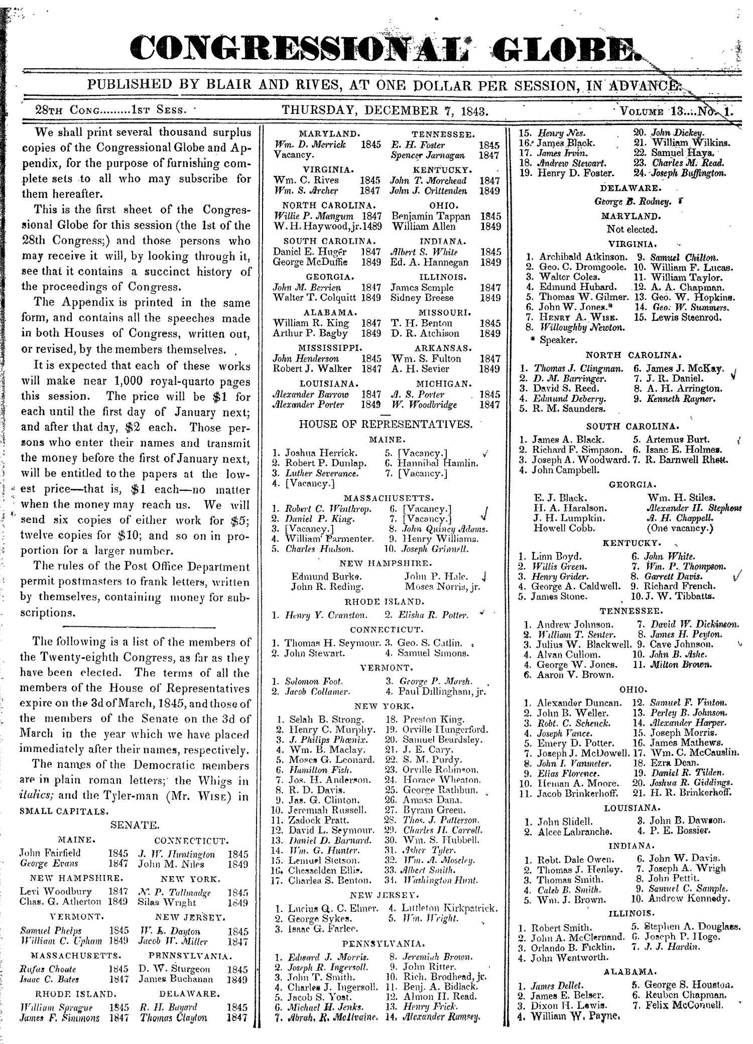 The Congressional Globe, Volume 13, Part 1: Twenty-Eighth Congress, First Session                                                                                                      None