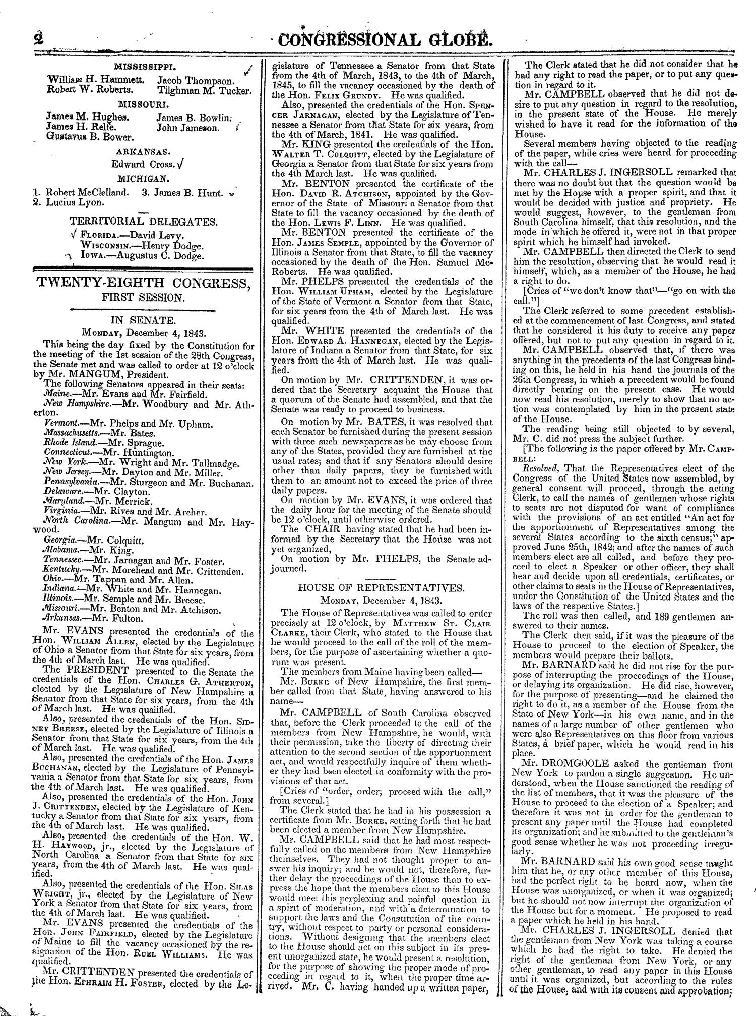 The Congressional Globe, Volume 13, Part 1: Twenty-Eighth Congress, First Session                                                                                                      2