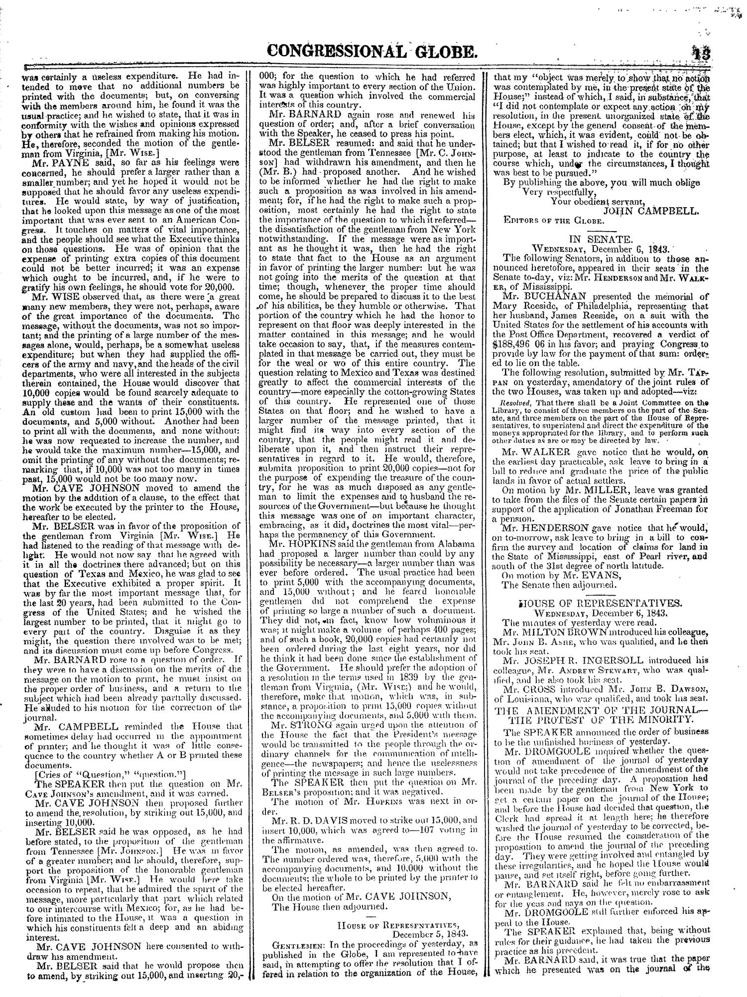 The Congressional Globe, Volume 13, Part 1: Twenty-Eighth Congress, First Session                                                                                                      13