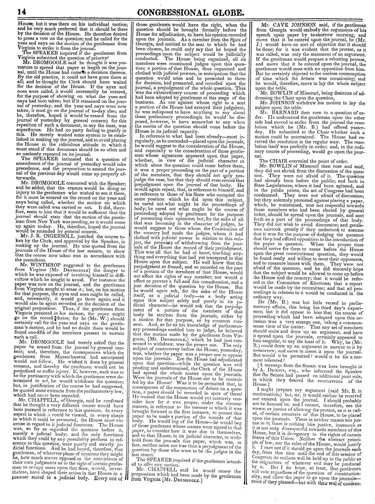 The Congressional Globe, Volume 13, Part 1: Twenty-Eighth Congress, First Session                                                                                                      14