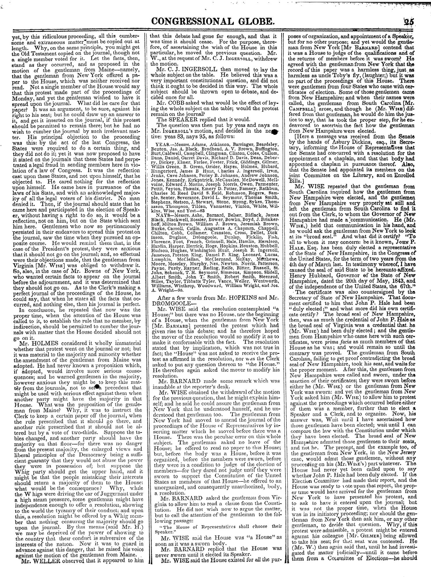 The Congressional Globe, Volume 13, Part 1: Twenty-Eighth Congress, First Session                                                                                                      25
