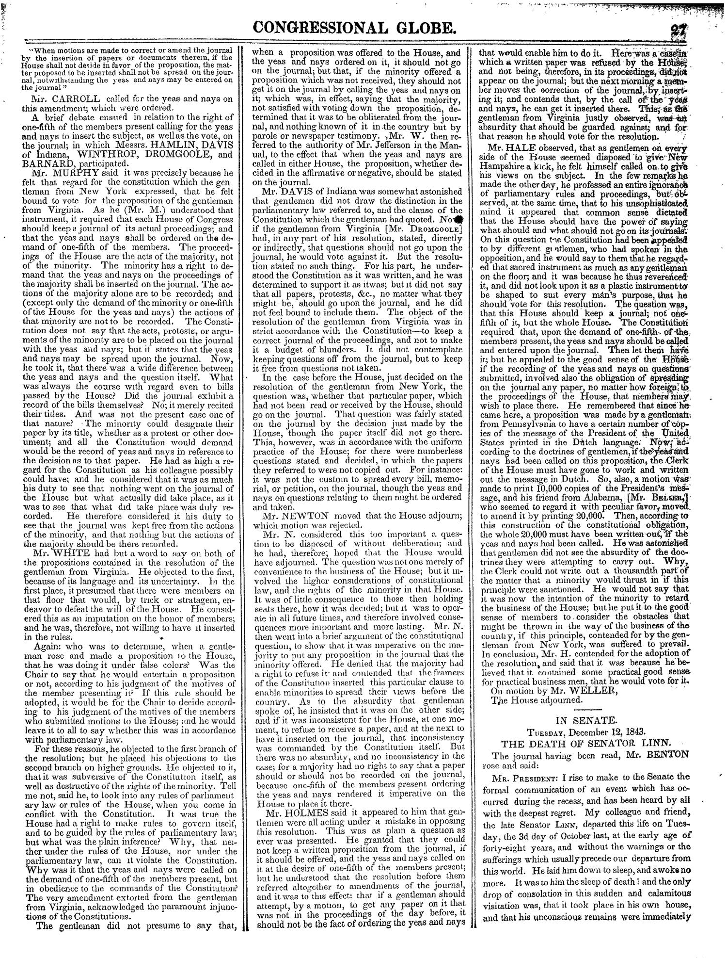 The Congressional Globe, Volume 13, Part 1: Twenty-Eighth Congress, First Session                                                                                                      27